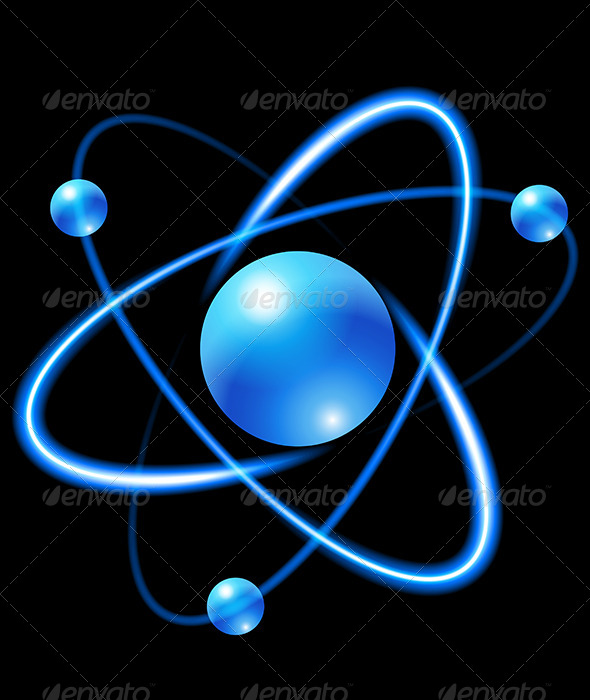 Atom clipart blue. On black background by