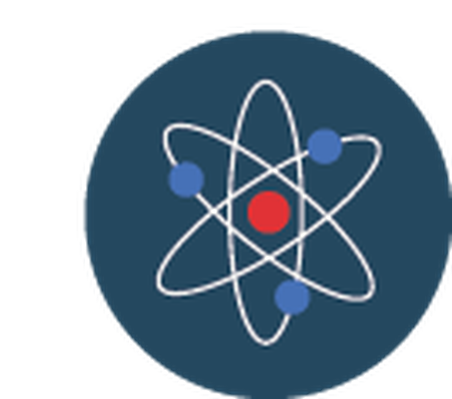 Science icons yellow and. Atom clipart blue