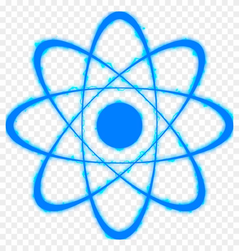Energy poverty ribbon icon. Atom clipart blue