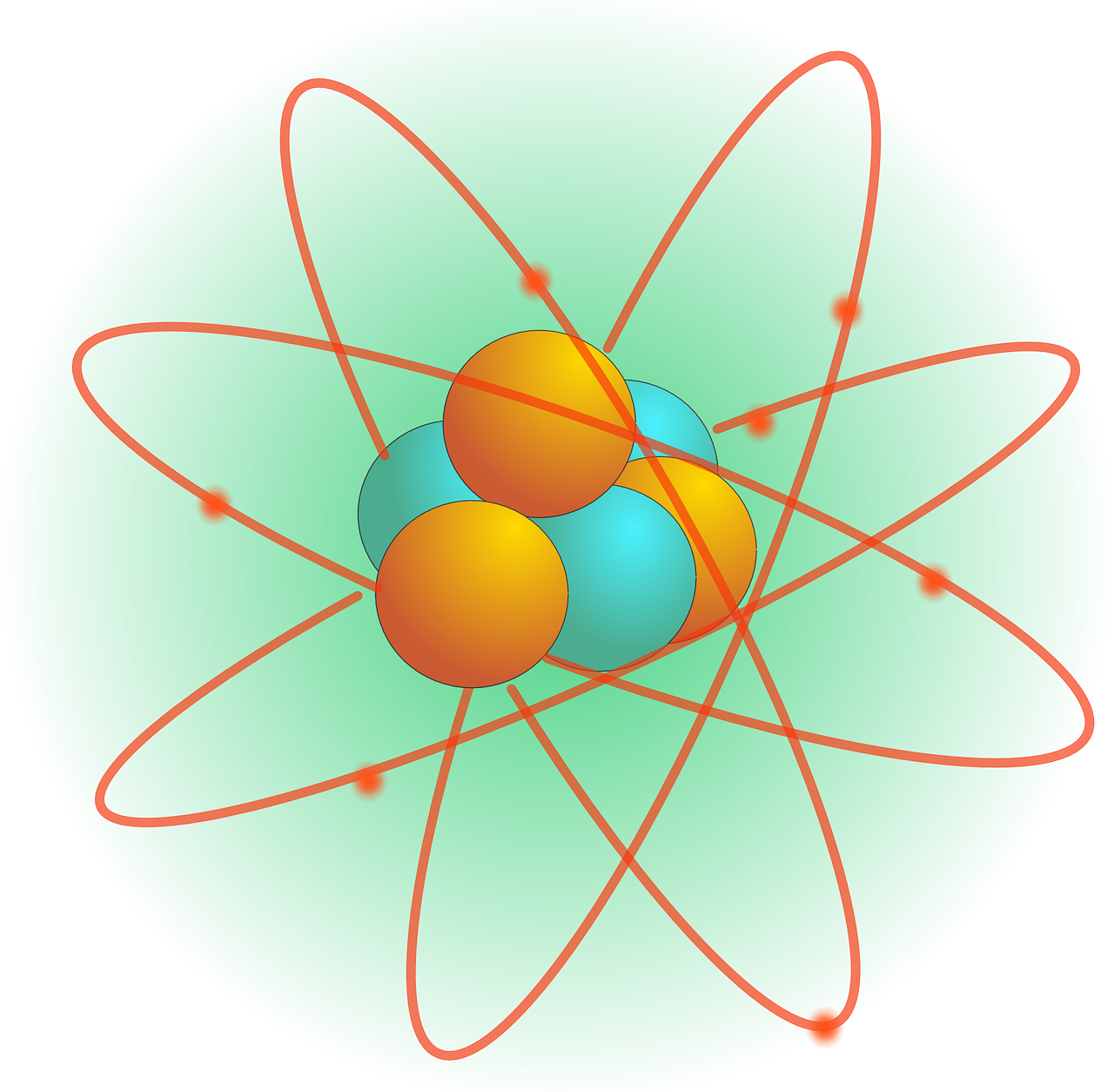 Nuclear atomic structure pencil. Atom clipart colorful