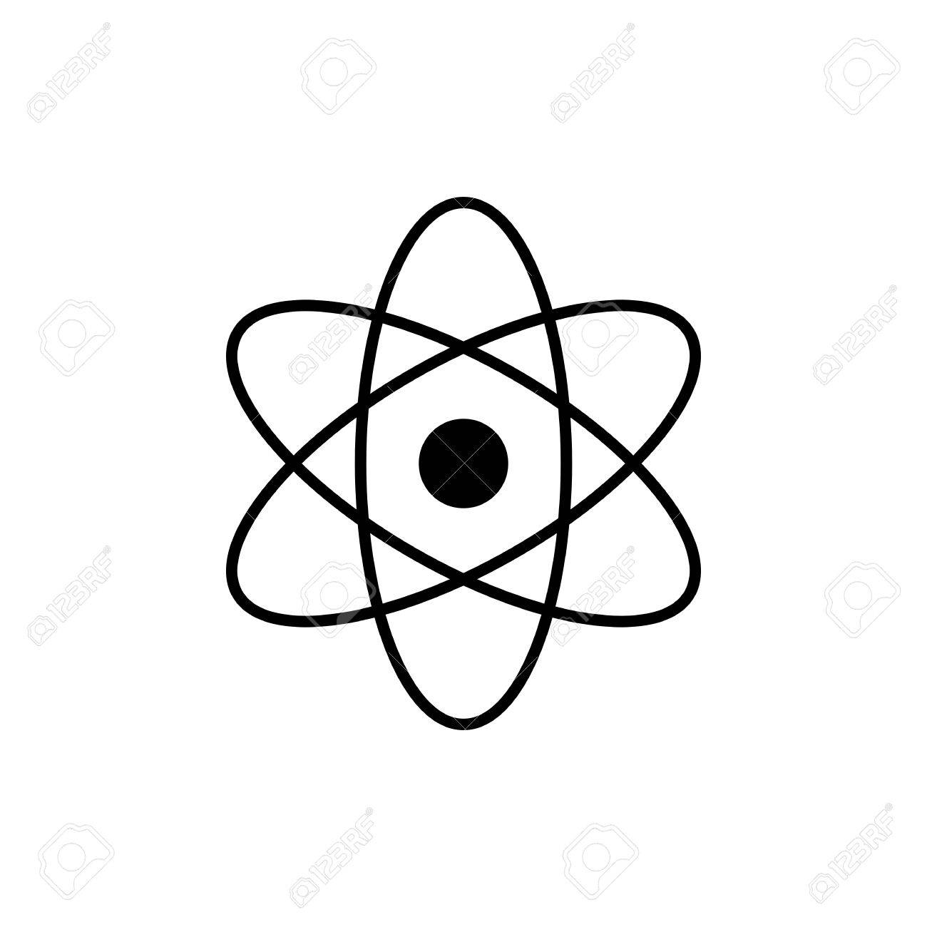 Logo science sign nuclear. Atom clipart electron