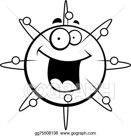 Eps illustration smiling vector. Atom clipart happy
