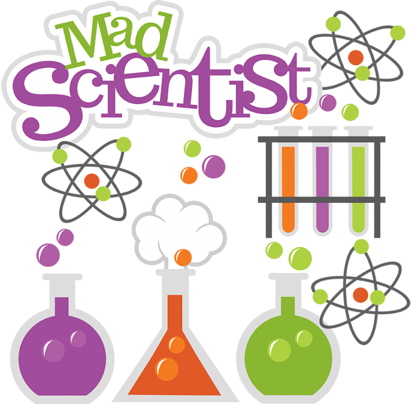 Chemistry clipart title page. Mad scientist svg science