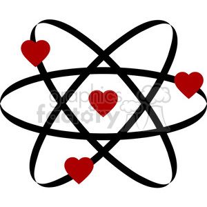 Royalty free of vector. Atom clipart love