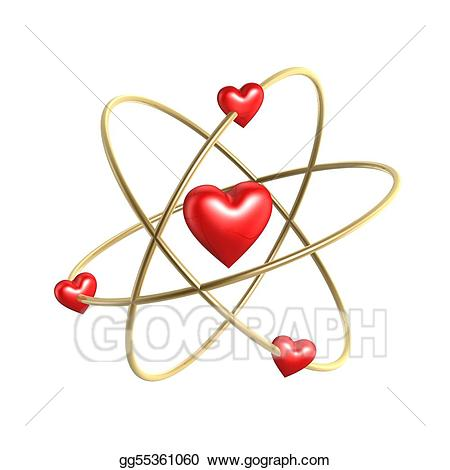 Atom clipart love. Stock illustration heart structure