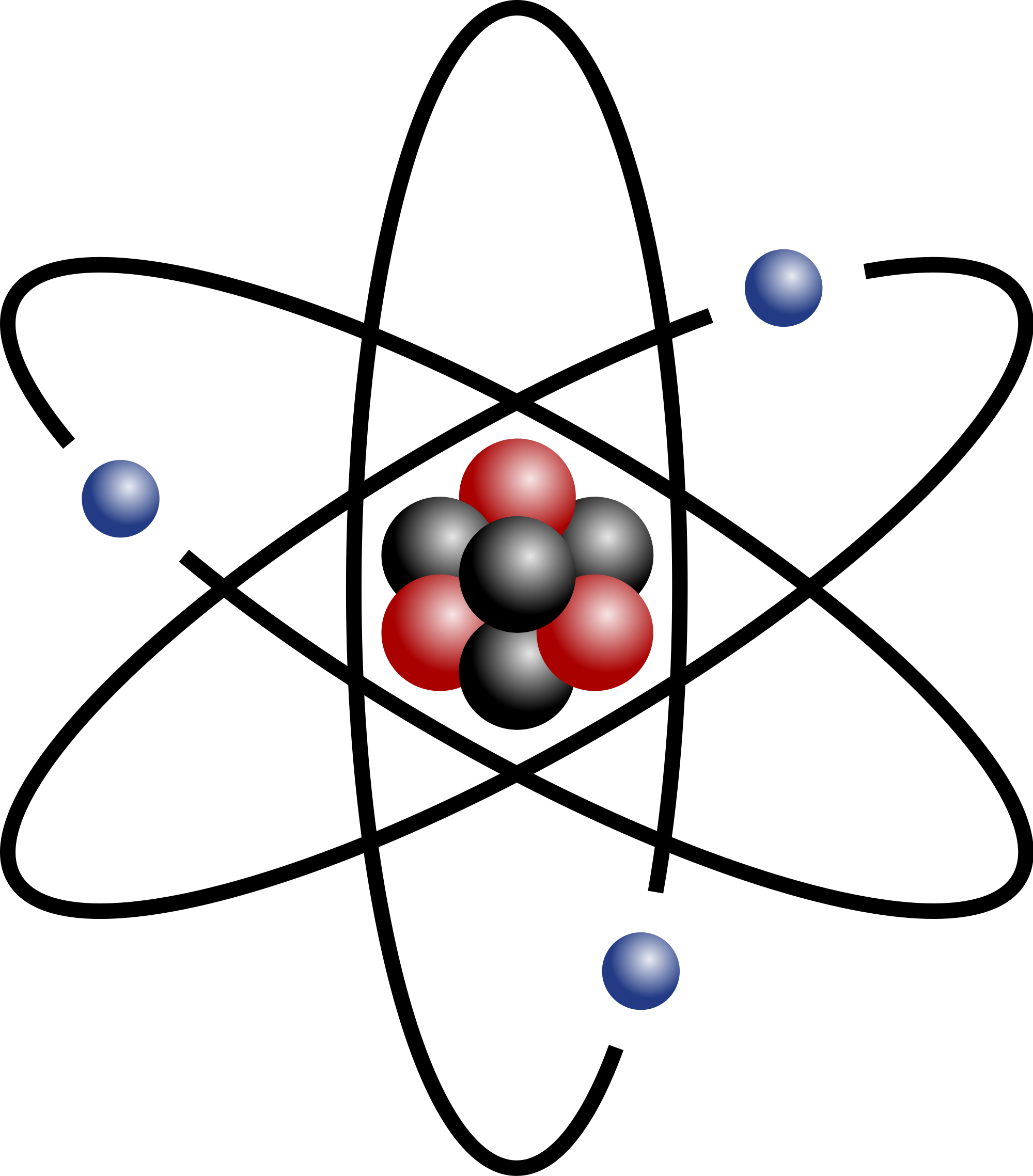 File stylised with three. Atom clipart nucleus