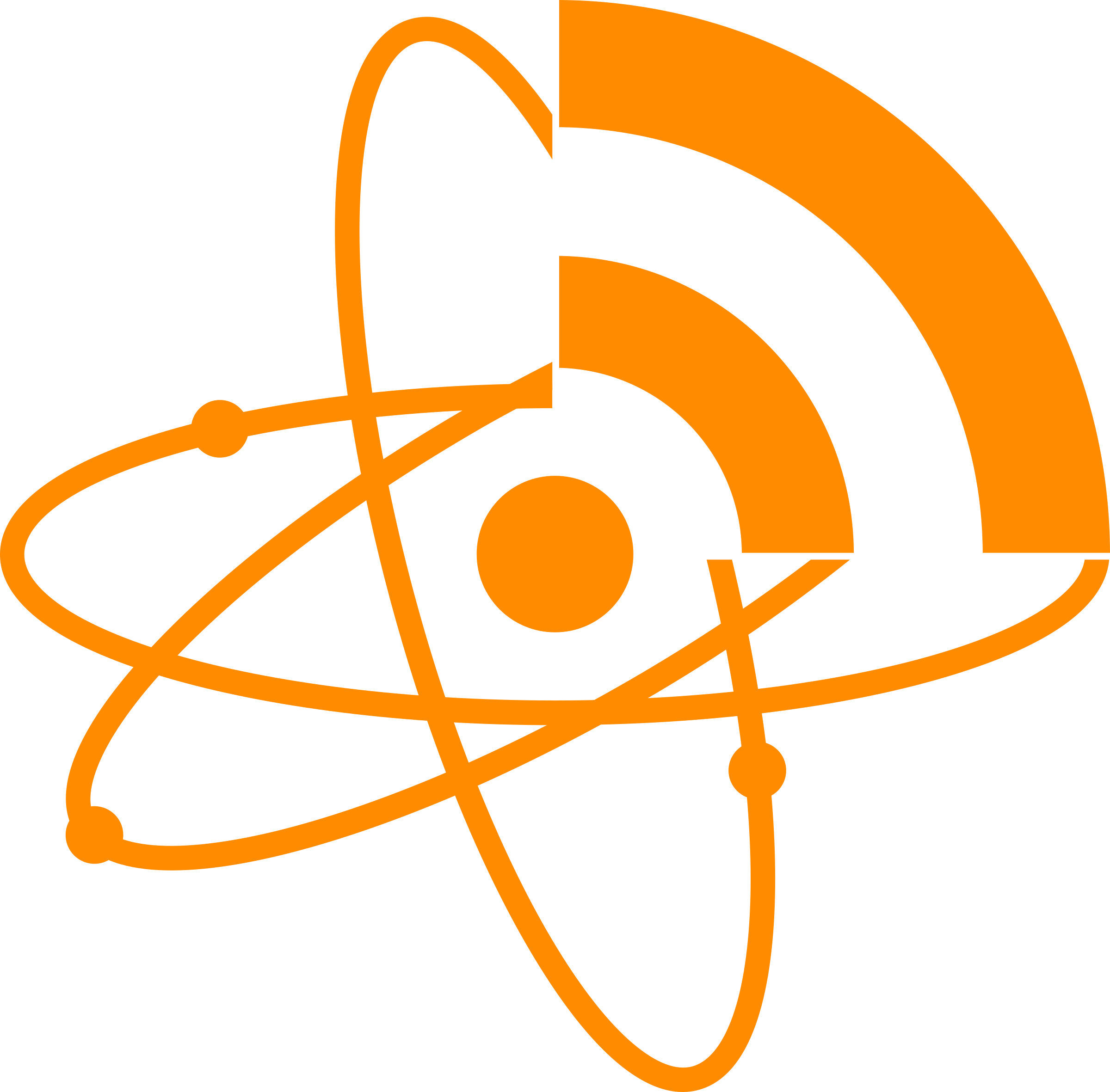Feeds icon big image. Atom clipart orange