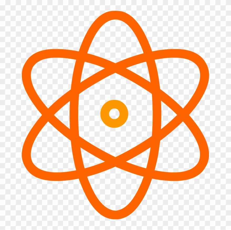 Atomic model nuclear icon. Atom clipart orange