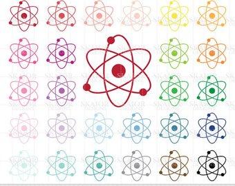 Atom clipart physics. Chemistry etsy clip art