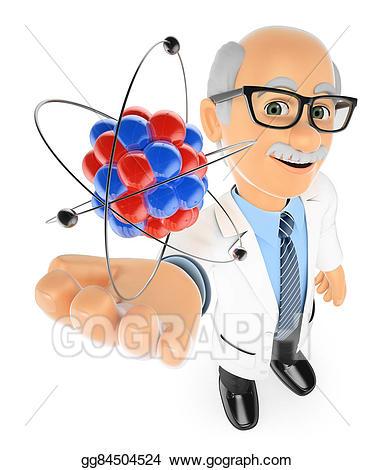 Stock illustration d teacher. Atom clipart physics