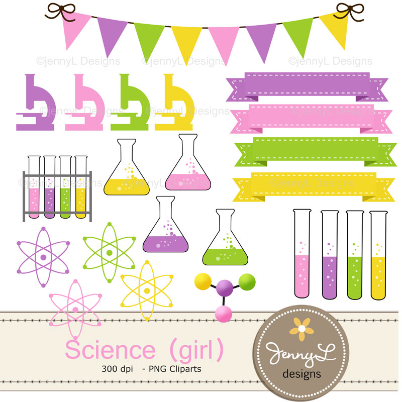 Atom clipart pink. Science scientist girl digital