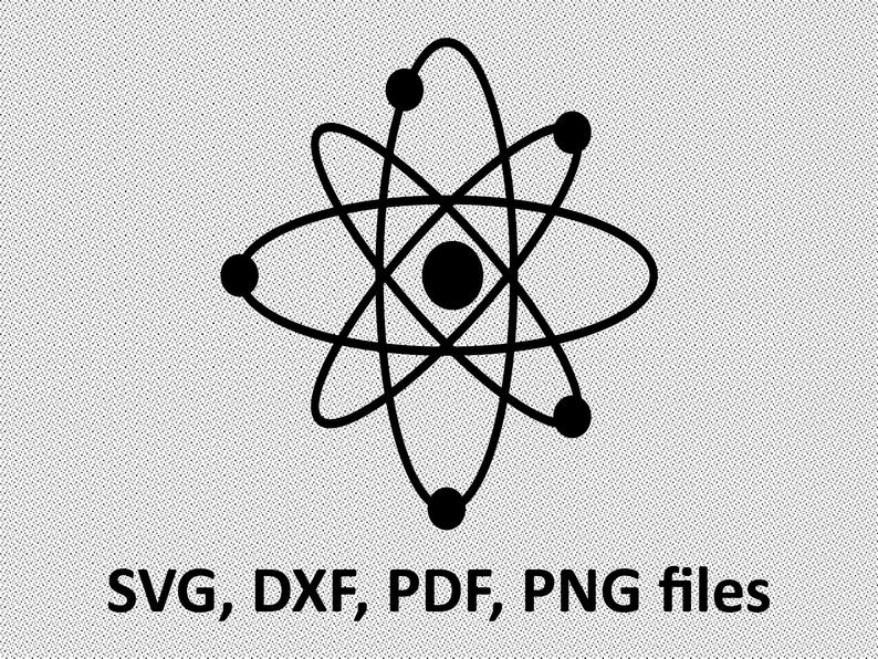 Atom clipart svg. Atomic vector science silhouette