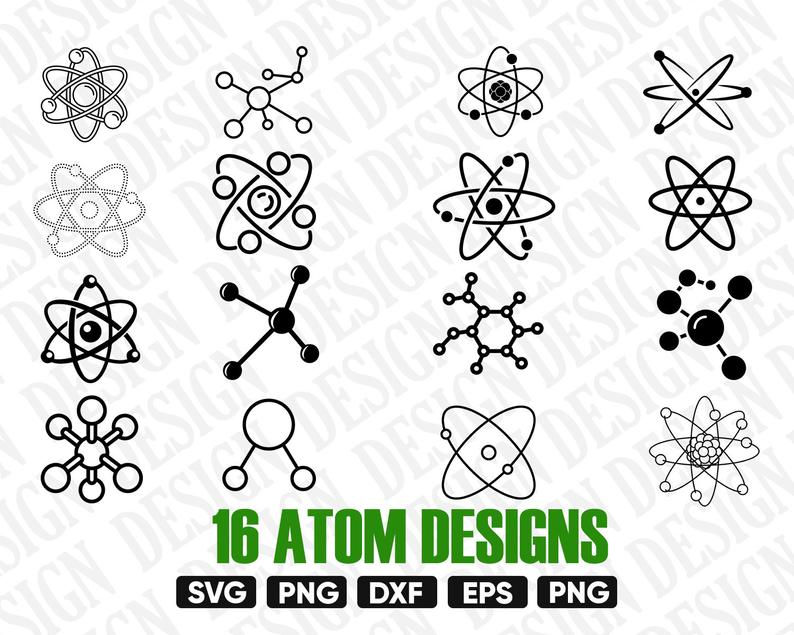 Atom clipart vector. Svg atomic science silhouette
