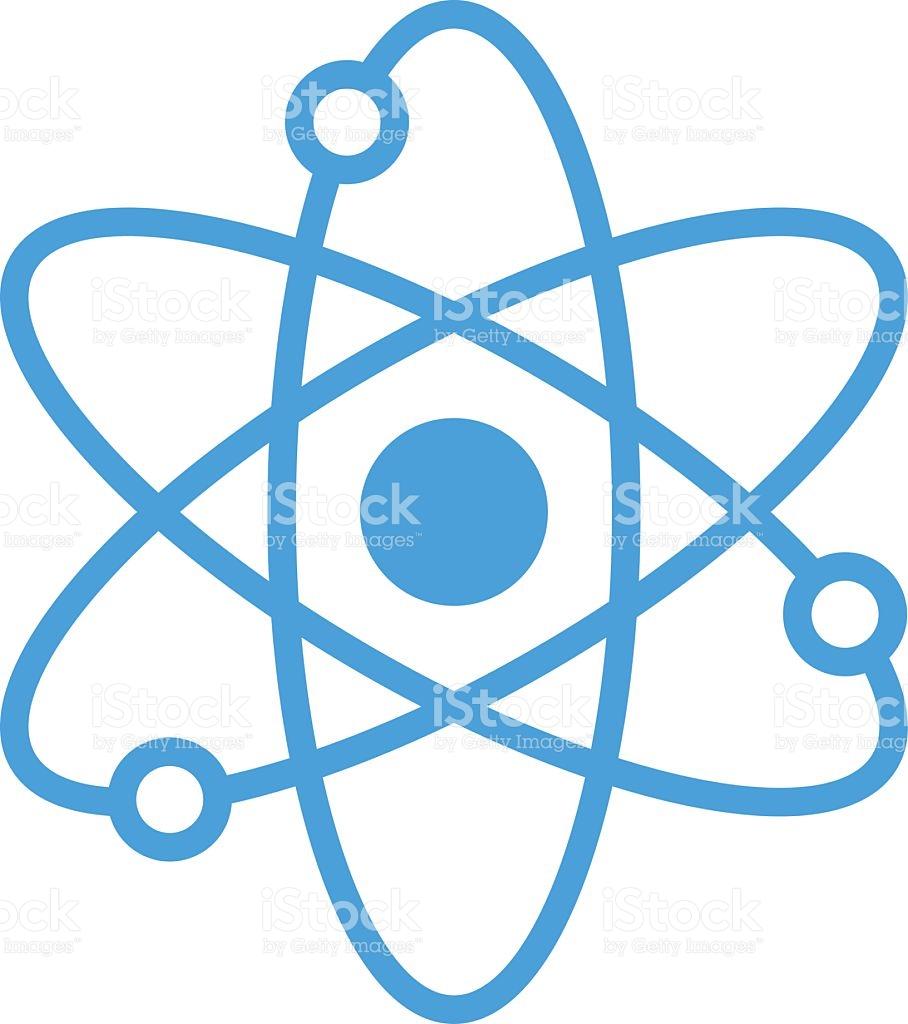 Blue . Atom clipart vector