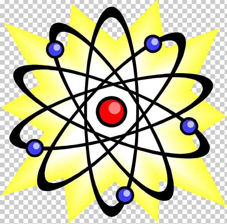 Quantum mechanics physics physicist. Atom clipart yellow