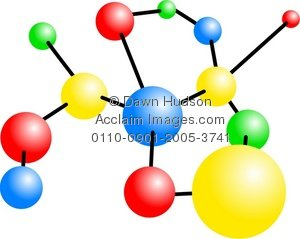 Illustration of an colourful. Atom clipart yellow