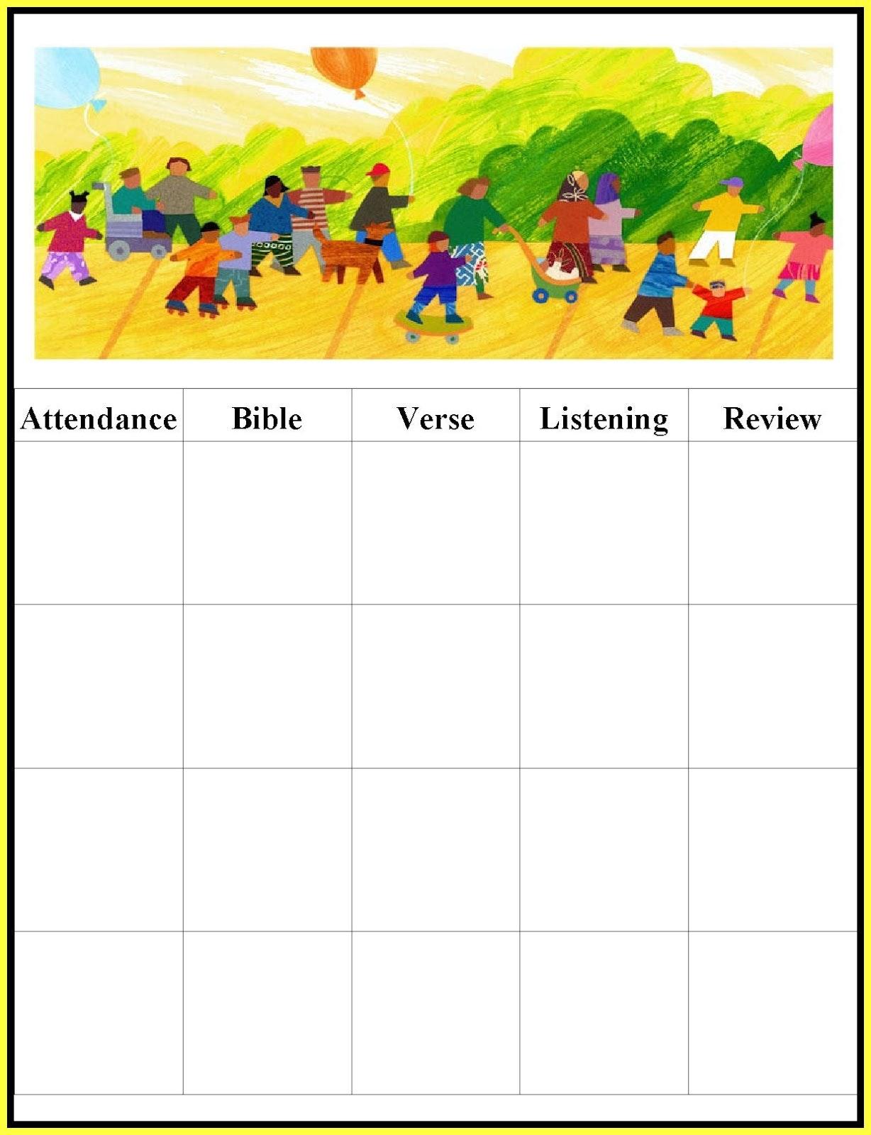 Chart clipart attendance. Sunday school treatment sheet