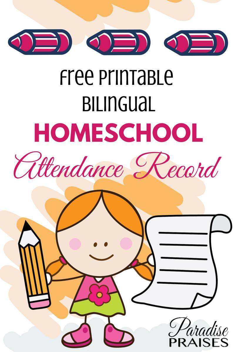 Attendance clipart attendance record. Homeschool free printable paradise