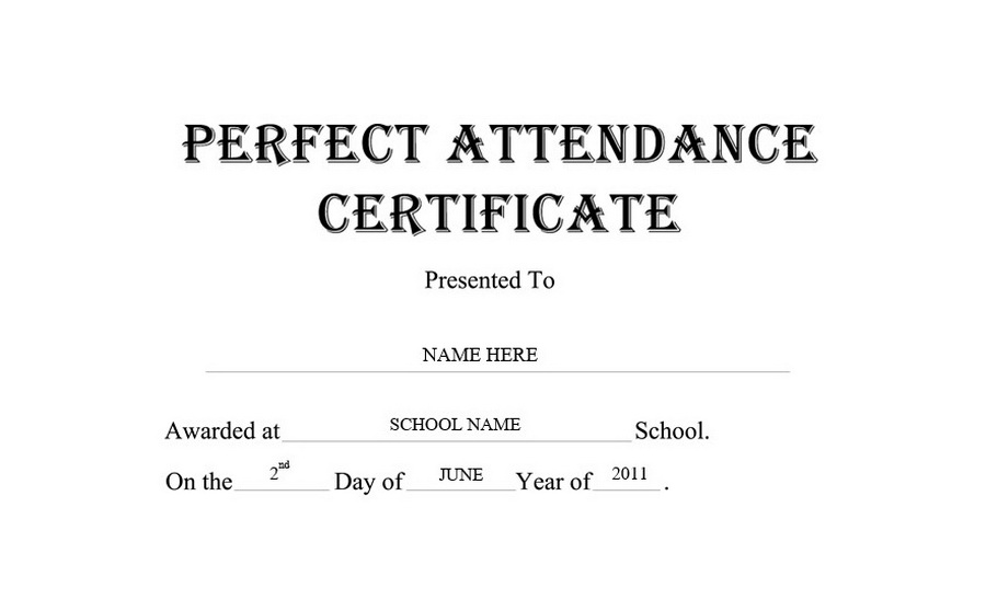 Attendance clipart black and white. Perfect certificate free templates