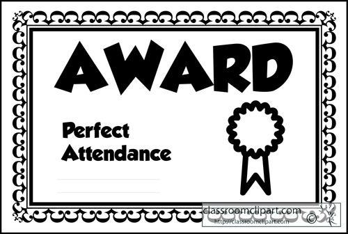 Award . Attendance clipart black and white