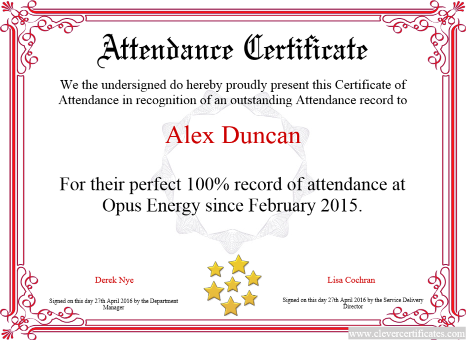 Attendance clipart border. Certificate of free templates