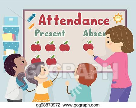 Attendance clipart classroom attendance. Vector art stickman kids