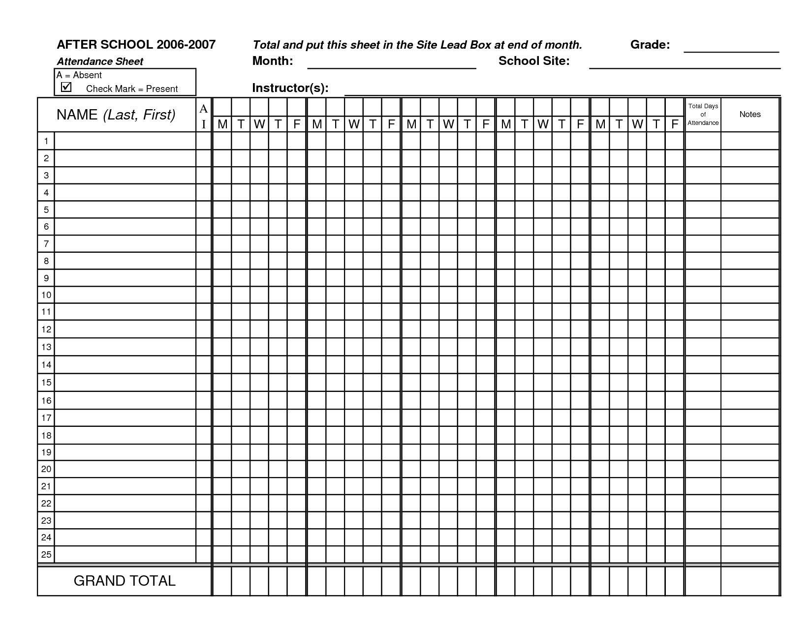 Classroom sheets class excel. Attendance clipart fact sheet