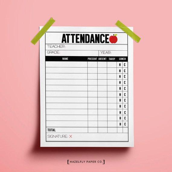 Attendance clipart present attendance. School teacher sheet printable