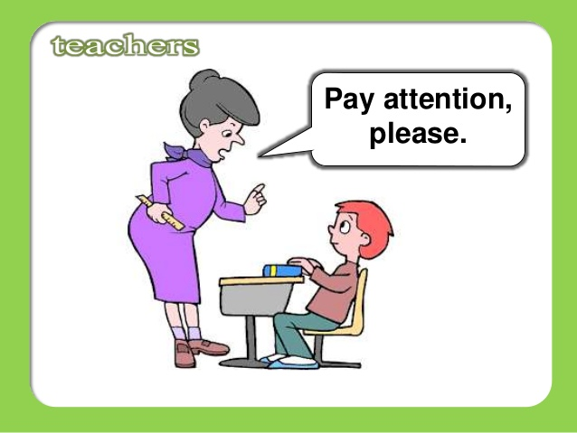 Classroom language pay. Attention clipart attention please