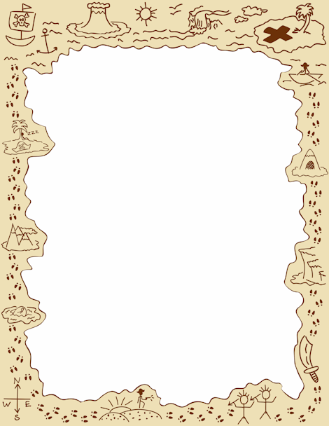 Pirate clipart banner. A page border featuring