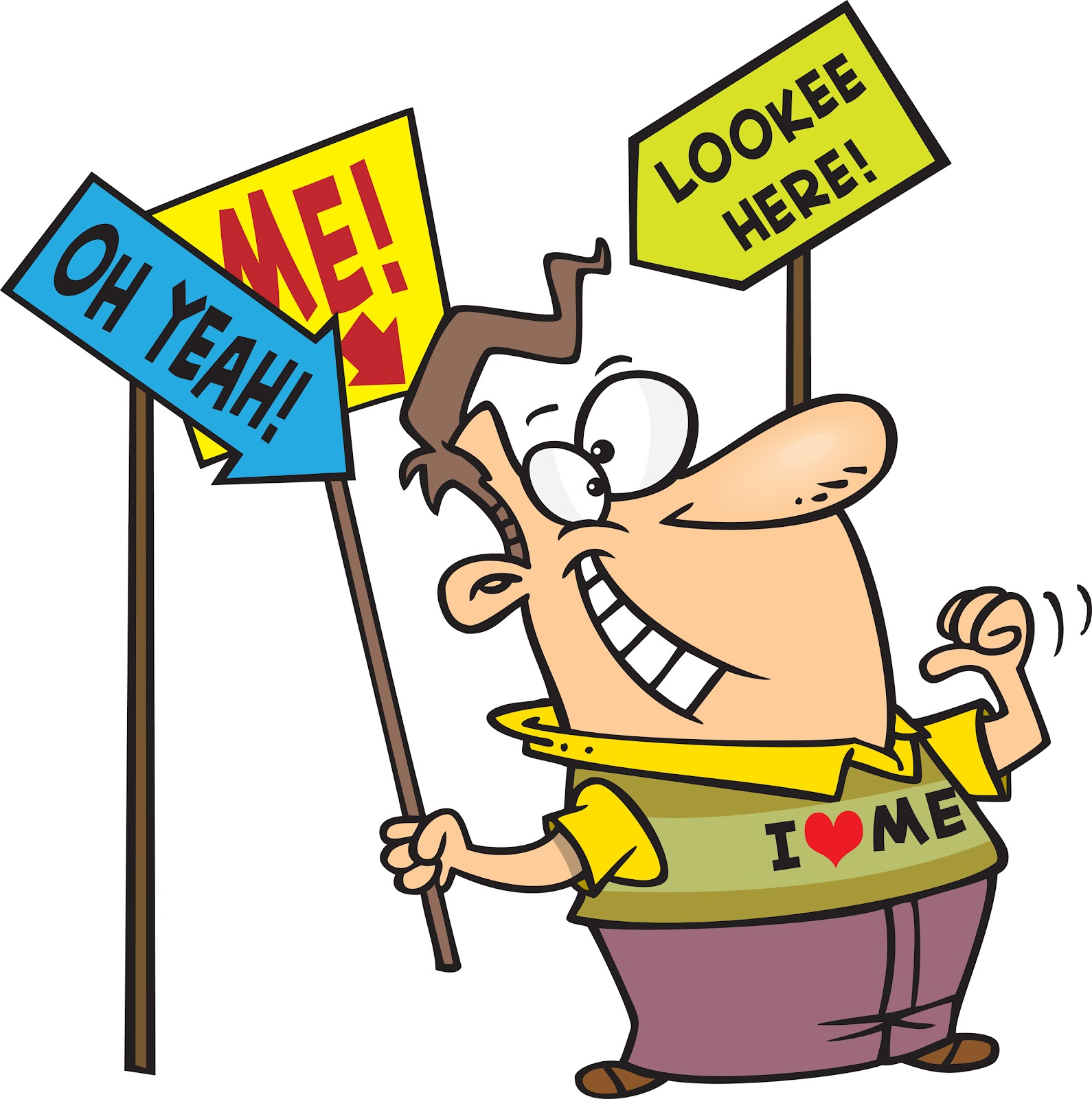 Conceit group self centred. Attention clipart cartoon
