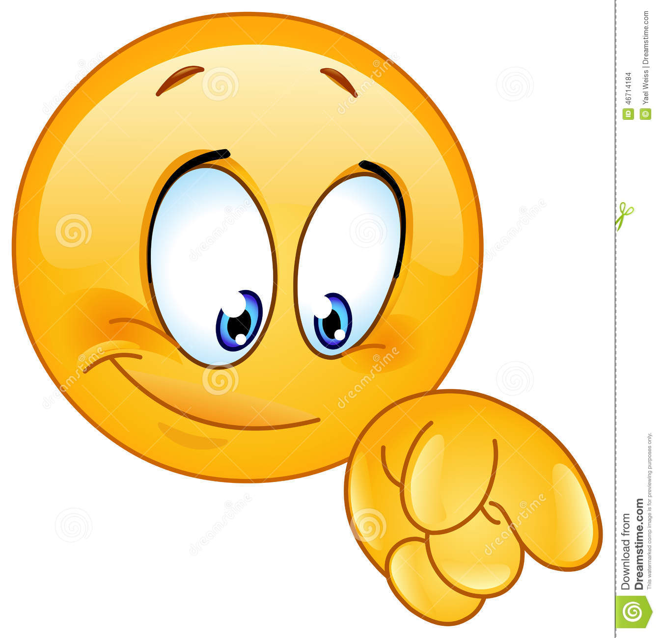 Emoticon looking down . Attention clipart emoji