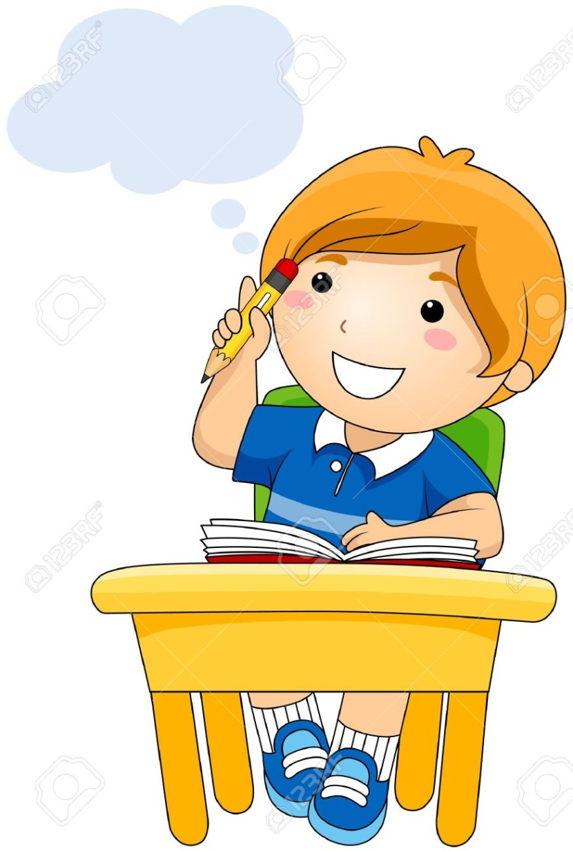 Attention clipart kid. Child thinking look at