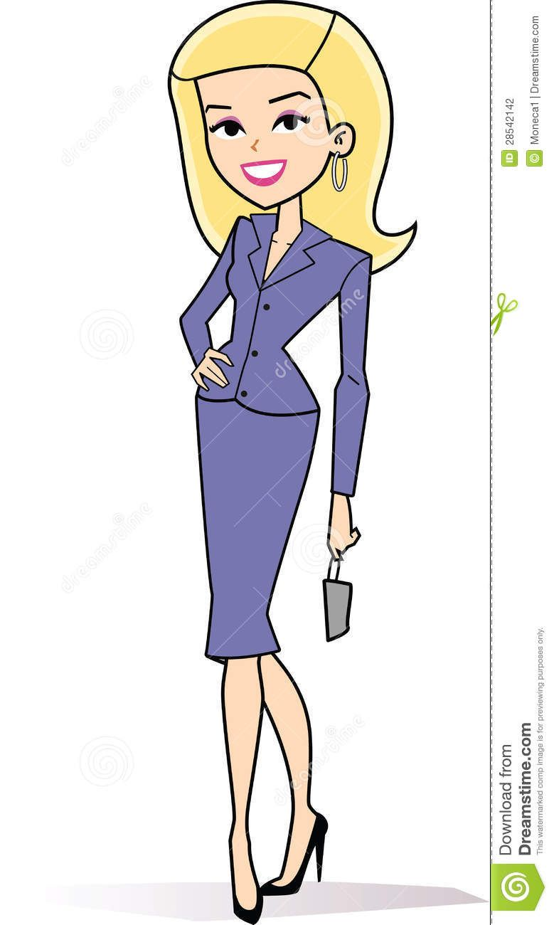 Female blonde business stock. Artist clipart retro