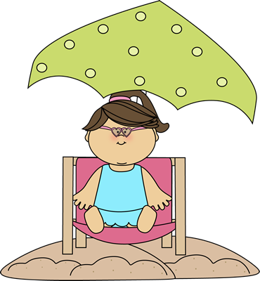 On beach . Attention clipart lady