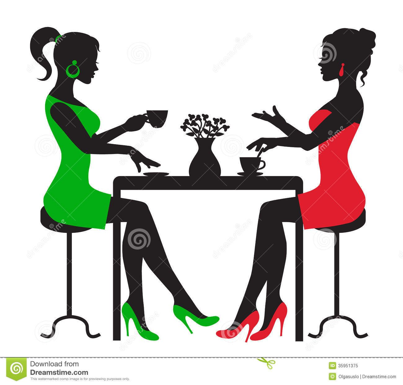 Attention clipart lady. Black woman tea for