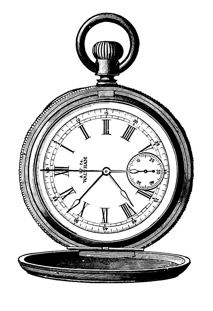Clip art pocket watch. Steampunk clipart retro clock