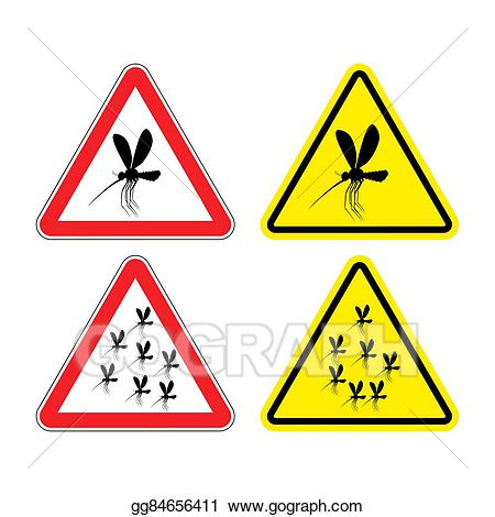 Attention clipart warning triangle. Vector sign mosquitoes hazard