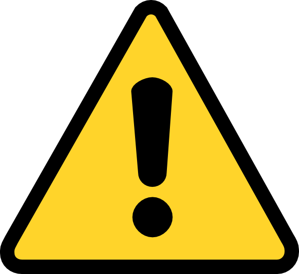 Clock clipart triangle. Warning exclamation clip art