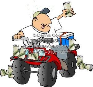 Illustration drunk rider . Atv clipart cartoon