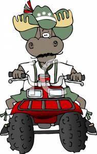 Atv clipart cartoon. A of moose on