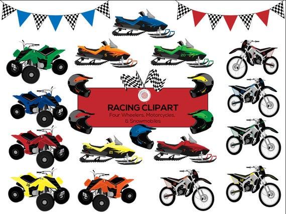 Racing motorcycle four wheeler. Atv clipart clip art