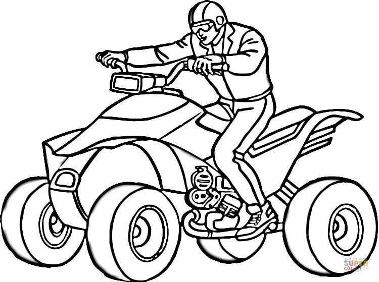 Man on free printable. Atv clipart coloring page