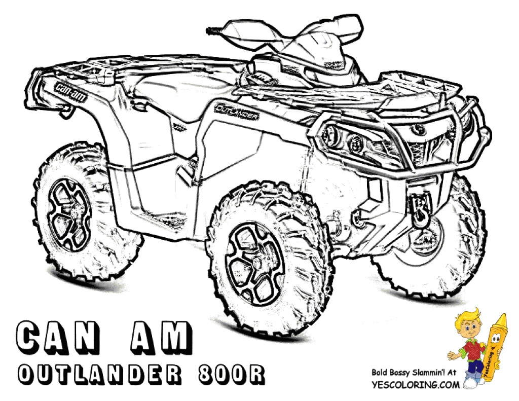 Atv clipart coloring page. Quad pages throughout four