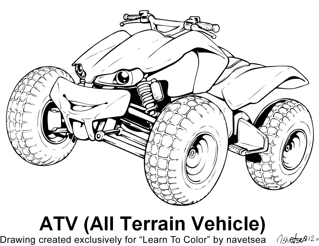 Drawing quad rescuedesk me. Atv clipart coloring page