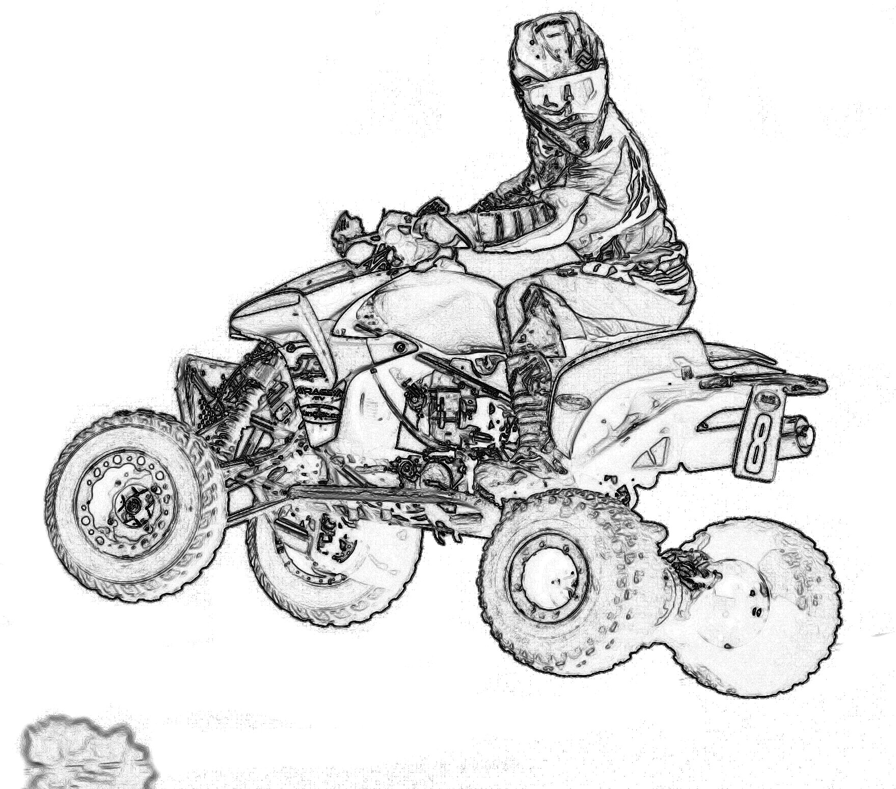 Quad pages throughout four. Atv clipart coloring page