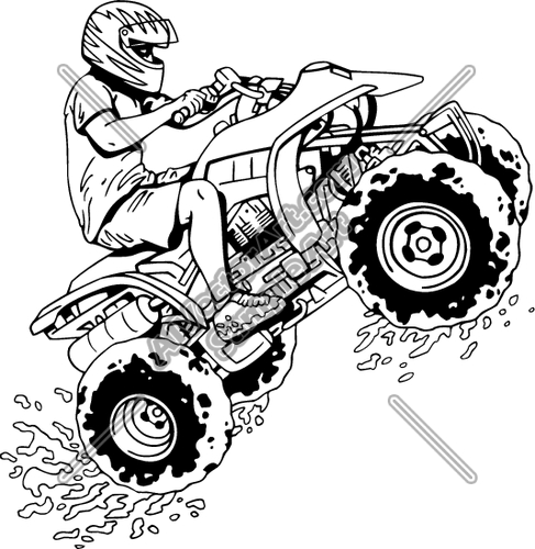 Four wheeler pages copertineinfo. Atv clipart coloring page