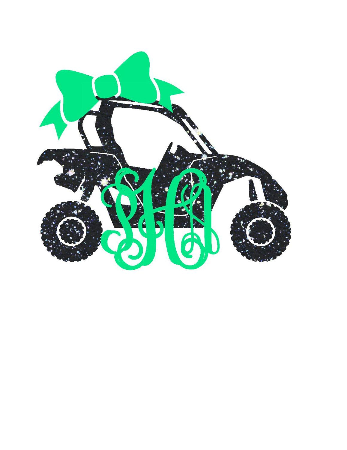 Atv clipart side by side. Monogram decal yeti southern