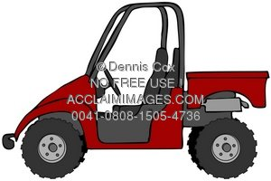 Illustration red . Atv clipart side by side