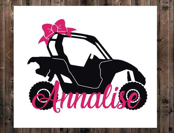 Atv clipart side by side. Name decal yeti monogram